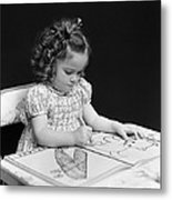 Girl With Coloring Book, C.1960-40s Metal Print