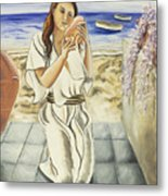 Girl With Conch Metal Print