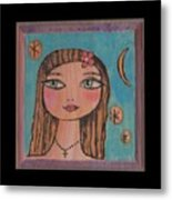 Girl With Cross Metal Print