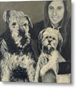 Girl With Dogs In Black And White Metal Print