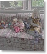 Girl With Dolls Metal Print