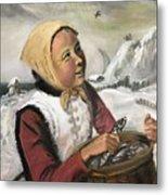 Girl With Fish Basket Metal Print