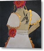 Lady With Flowers Metal Print