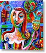 Girl With Glass Of Chardonnay Metal Print