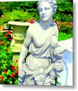 Girl With Grapes In Garden Metal Print