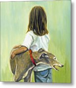 Girl With Greyhound Metal Print