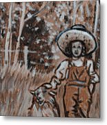 Girl With Hat And Dog Historical Vignette Metal Print