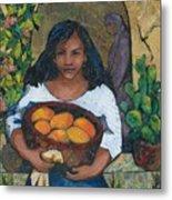 Girl With Mangoes Metal Print