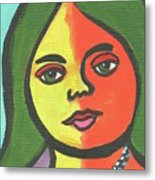 Girl With Necklace Metal Print