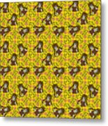 Girl With Popsicle Yellow Floral Metal Print