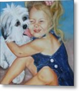 Girl With Puppy Metal Print