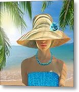 Girl With Summer Hat Metal Print