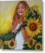 Girl With Sunflowers Metal Print