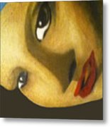 Girl With The Pearl Earring Close Up Metal Print