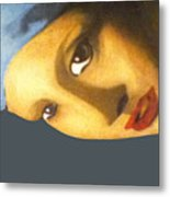 Girl With The Pearl Earring Side Metal Print