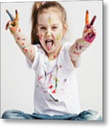 Girl With Victory Sign Sticking Out Her Tounge Metal Print