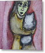 Girl With White Cat Metal Print