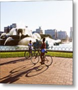 Girls At The Fountain Metal Print