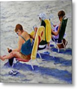 Girls Day At  The Beach Metal Print