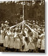 Girls  Doing The Maypole Dance Pacific Grove Circa 1890 Metal Print