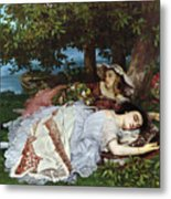 Girls On The Banks Of The Seine Metal Print by Gustave Courbet