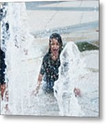 Girls Playing In Fountain  Metal Print