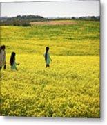 Girls Walking In The Field Metal Print