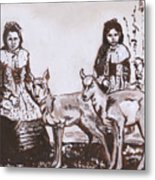Girls With Pronghorn Fawns Historical Vignette From River Mural Metal Print