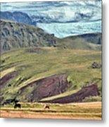 Glacier Mountains Meadows Horses Metal Print