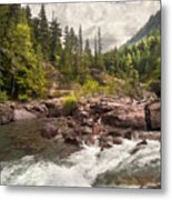 Glacier Waterfall Metal Print