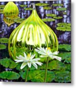 Glass Among The Lilies Metal Print