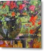 Glass And Flowers Metal Print