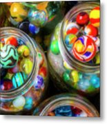 Glass Marbles In Containers Metal Print