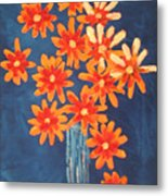 Glass Of Beach Daisies Metal Print