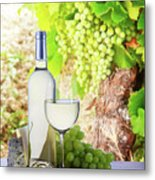 White Wine In Vineyard Metal Print