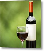 Glass Of Red Wine Outdoors Ready To Enjoy Metal Print