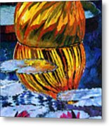 Glass Reflections On Lily Pond Metal Print