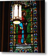 Glass Window Of Saint Philip In The Basilica In Santa Fe  Metal Print