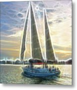 Glimmering Sailboat Metal Print by Ella Char