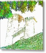 Glimpse Of The Castle Walls And Towers Metal Print