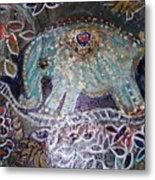 Glitter Girl Elephant Walking In My Dream  Metal Print
