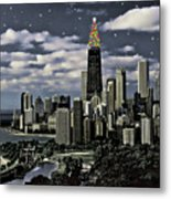 Glittering Chicago Christmas Tree Metal Print