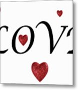 Glittery Heart Shapes And Love Word Metal Print