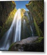 Gljufrabui Iceland Waterfall Metal Print
