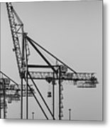 Global Containers Terminal Cargo Freight Cranes Bw Metal Print