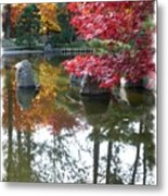 Glorious Fall Colors Reflection With Border Metal Print