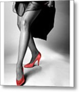 Glorious Gams - Red Shoes Metal Print
