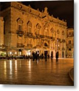 Glossy Outdoor Living Room - Syracuse Sicily Italy Metal Print