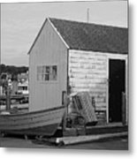 Gloucester Boathouse In Black And White Metal Print