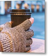 Gloved Hands Holding Coffee Cup Metal Print